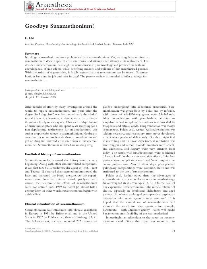 Goodbye suxamethonium! anaesthesia march 2009