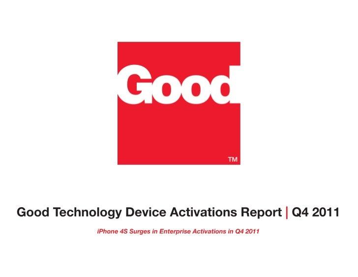 Rapport Q4 2011 de Good Technology sur les activations de terminaux mobiles