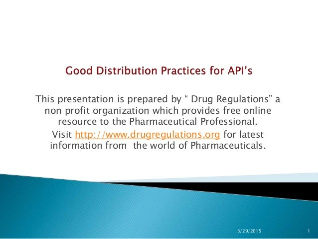 "This presentation is prepared by "" Drug Regulations"" a non profit organization which provides free online resource to the ..."