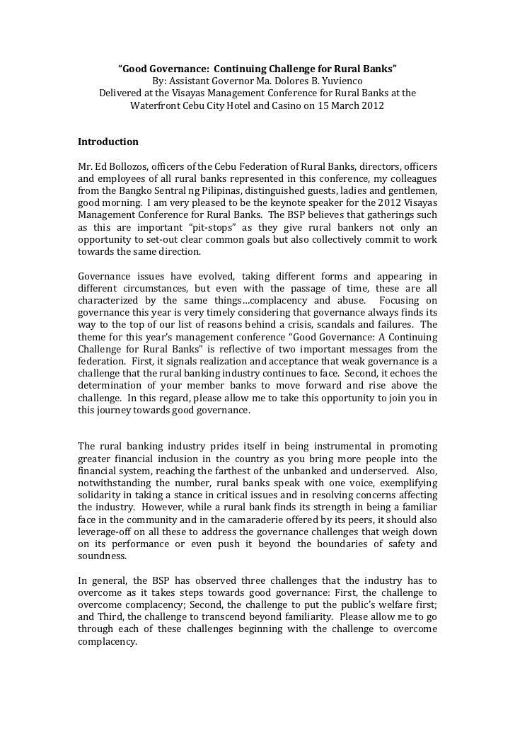 Good governance by gov. yuvienco