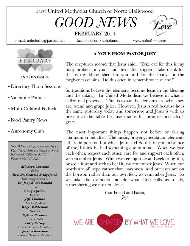 First United Methodist Church of North Hollywood  GOOD NEWS FEBRUARY 2014  e-mail: nohofumc@pacbell.net  facebook.com/noho...