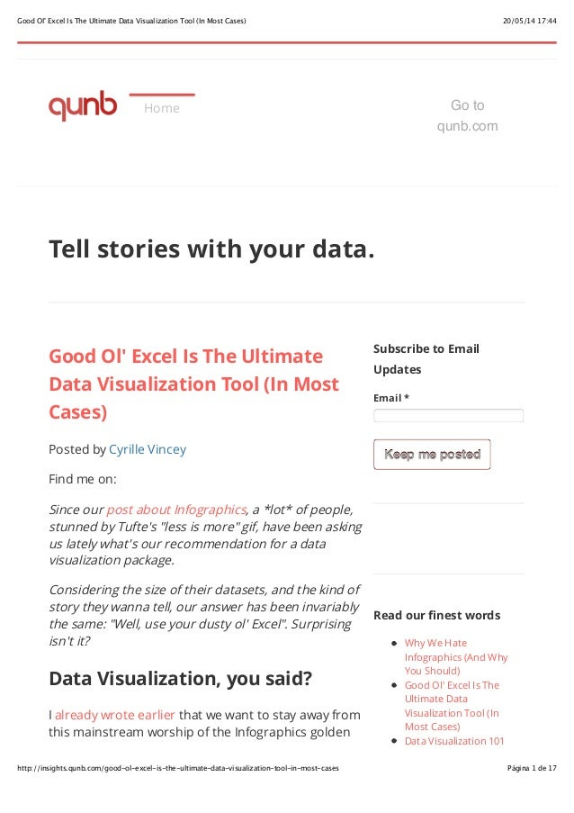 20/05/14 17:44Good Ol' Excel Is The Ultimate Data Visualization Tool (In Most Cases) Página 1 de 17http://insights.qunb.co...