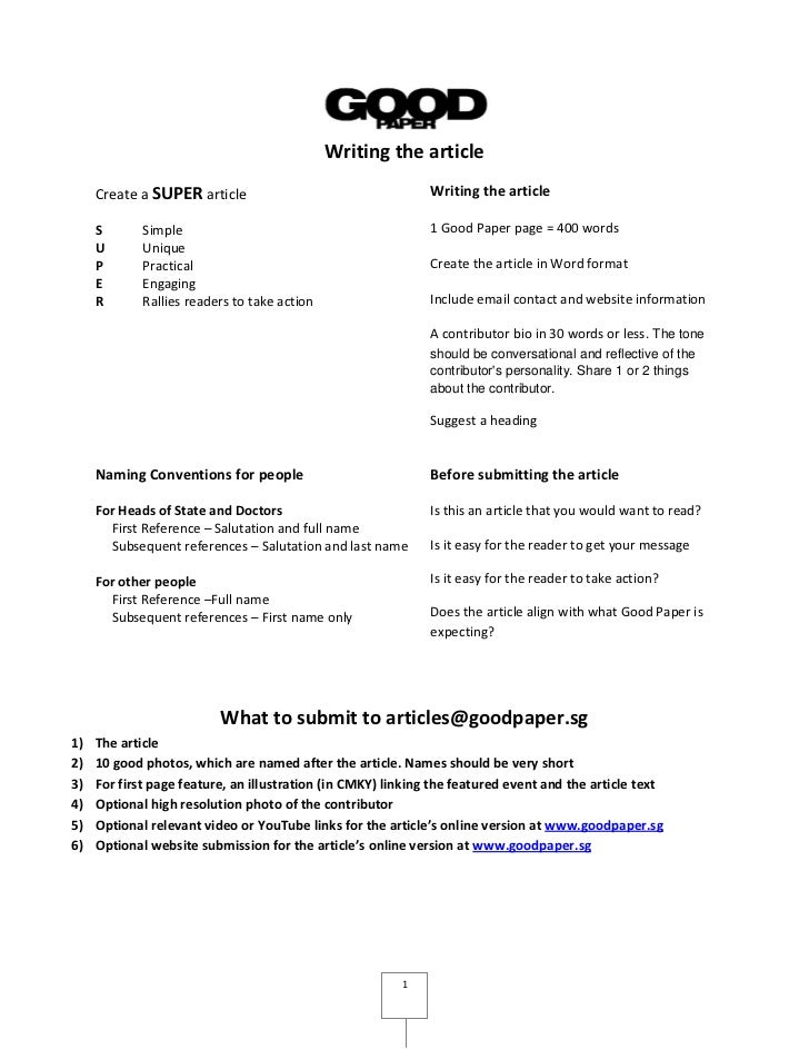 Writing the article     Create a SUPER article                                   Writing the article     S       Simple   ...