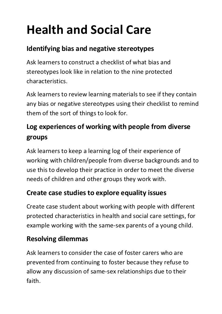 analysing equality and diversity in social care Promoting diversity in social work practice to combat oppression in a multicultural society, social workers are expected to recognise diversity in their practice and actively tackle oppression.