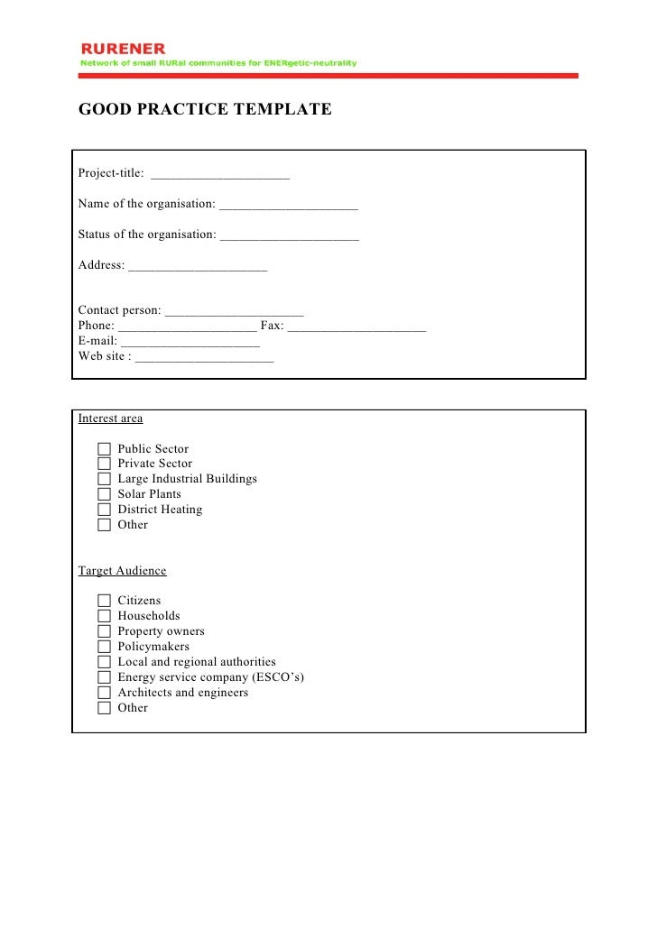 GOOD PRACTICE TEMPLATE   Project-title: _____________________  Name of the organisation: _____________________  Status of ...