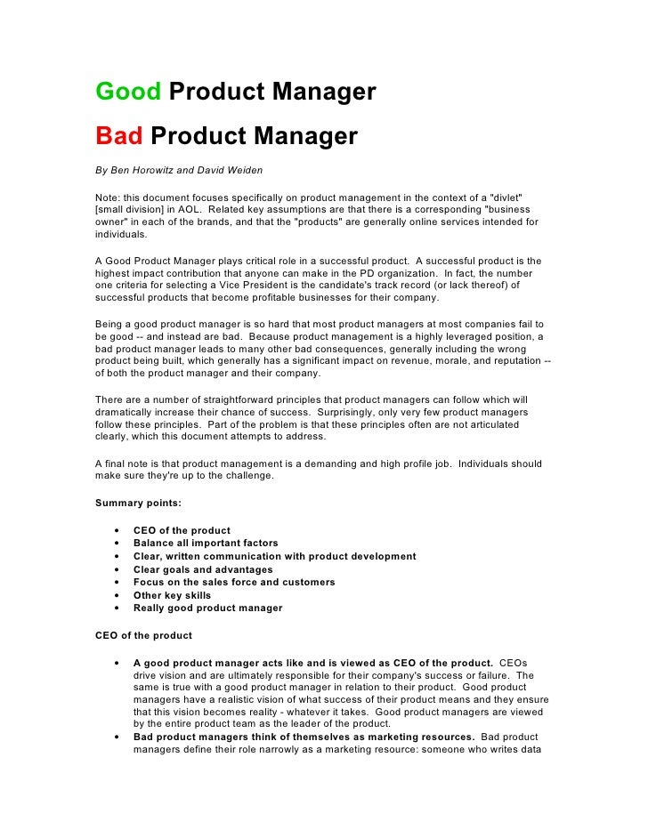 Good Product Manager Bad Product Manager By Ben Horowitz and David Weiden  Note: this document focuses specifically on pro...