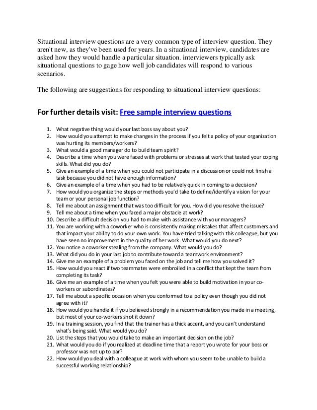 Good situational interview questions