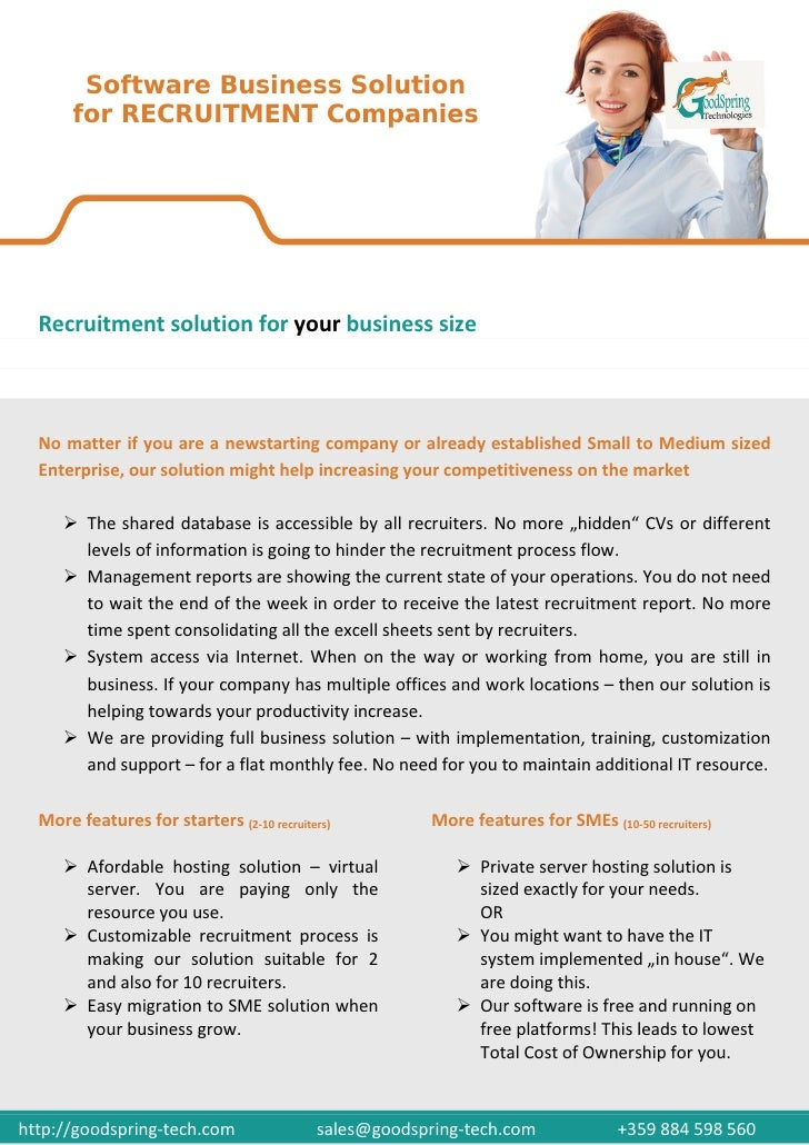 Recruitment solution for your business size  No matter if you are a newstarting company or already established Small to Me...