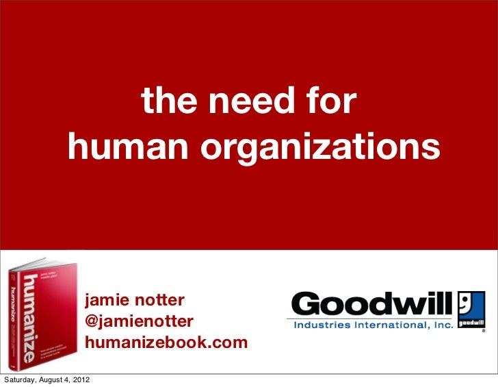 The Need for Human Organizations