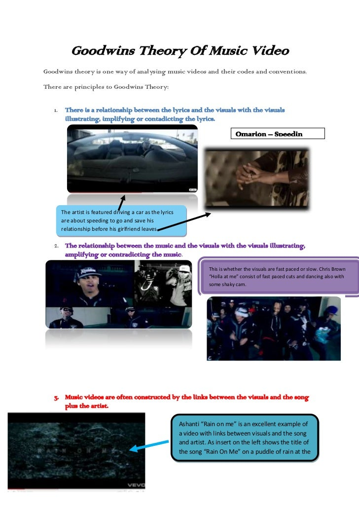 Goodwins Theory Of Music Video<br />Goodwins theory is one way of analysing music videos and their codes and conventions.<...