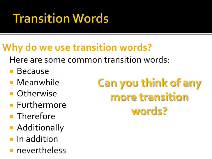 transition words for college essays
