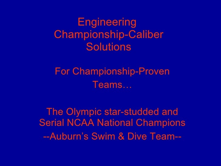 Engineering  Championship-Caliber Solutions For Championship-Proven Teams… The Olympic star-studded and Serial NCAA Nation...