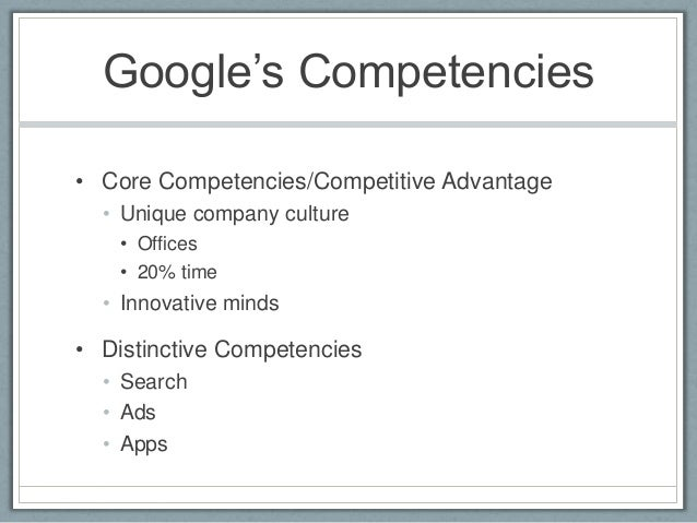 google distinctive competence Main menu.