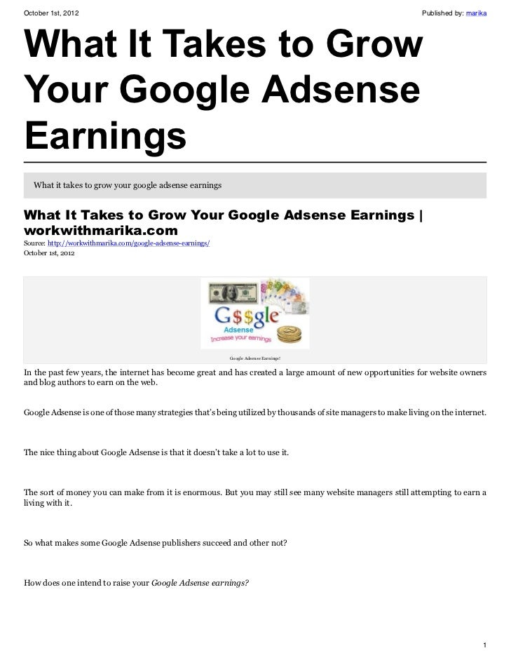 What It Takes to Grow Your Google Adsense Earnings