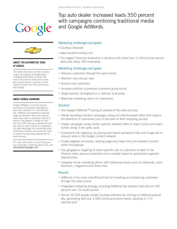 GOOGLE ADWORDS CASE STUDY – AUTOmOTivE TEAm AT GOOGLE                                                   Top auto dealer in...
