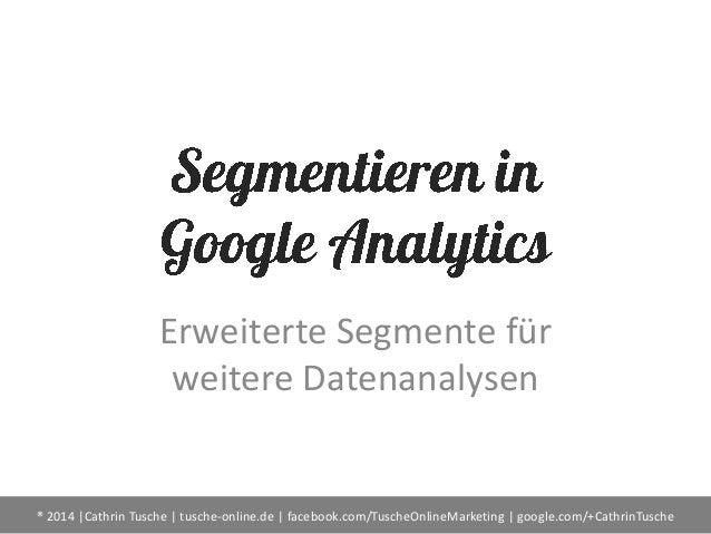 Erweiterte Segmente für weitere Datenanalysen  ® 2014 |Cathrin Tusche | tusche-online.de | facebook.com/TuscheOnlineMarket...