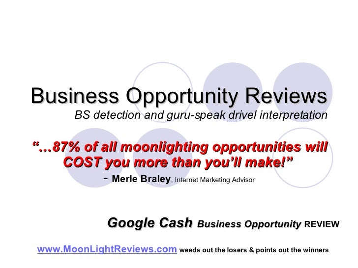 Google Cash Business Opportunity Review