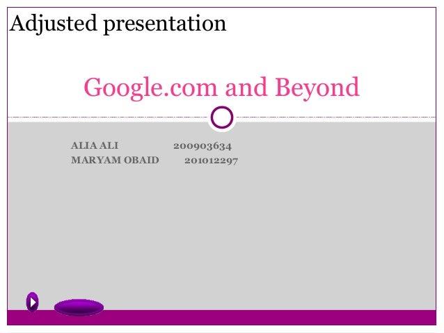 Google.com and beyond adjusted