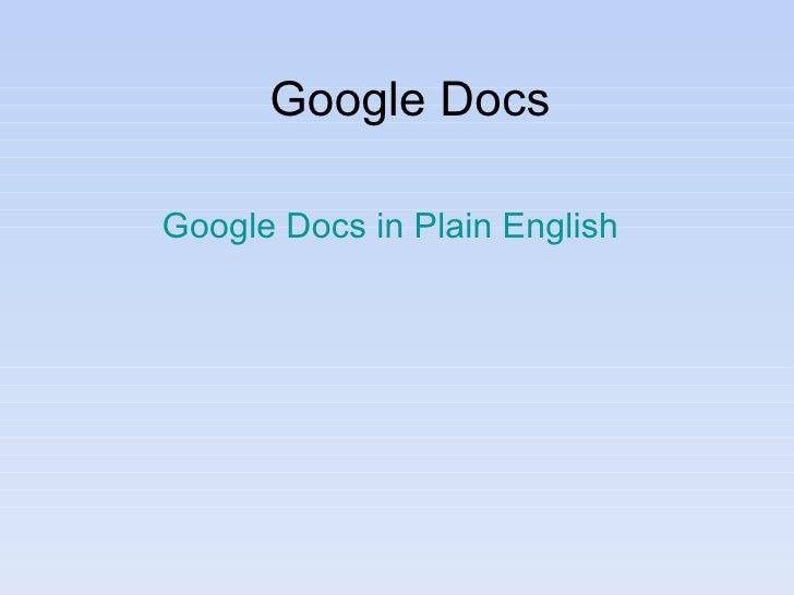 Google Docs Google Docs in Plain English