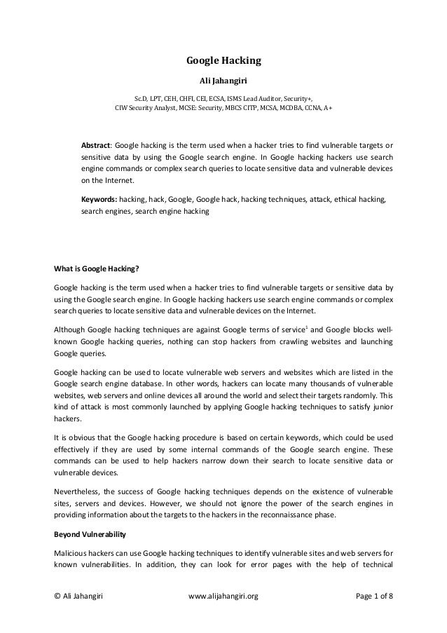 Google Hacking by Ali Jahangiri