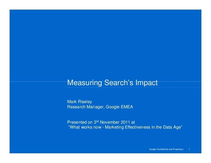 Google - measuring search's impact