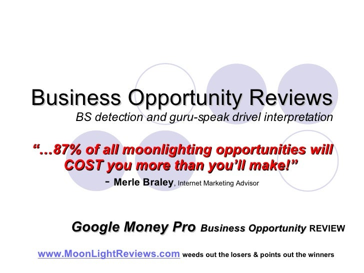 "Business Opportunity Reviews BS detection and guru-speak drivel interpretation ""… 87% of all moonlighting opportunities wi..."