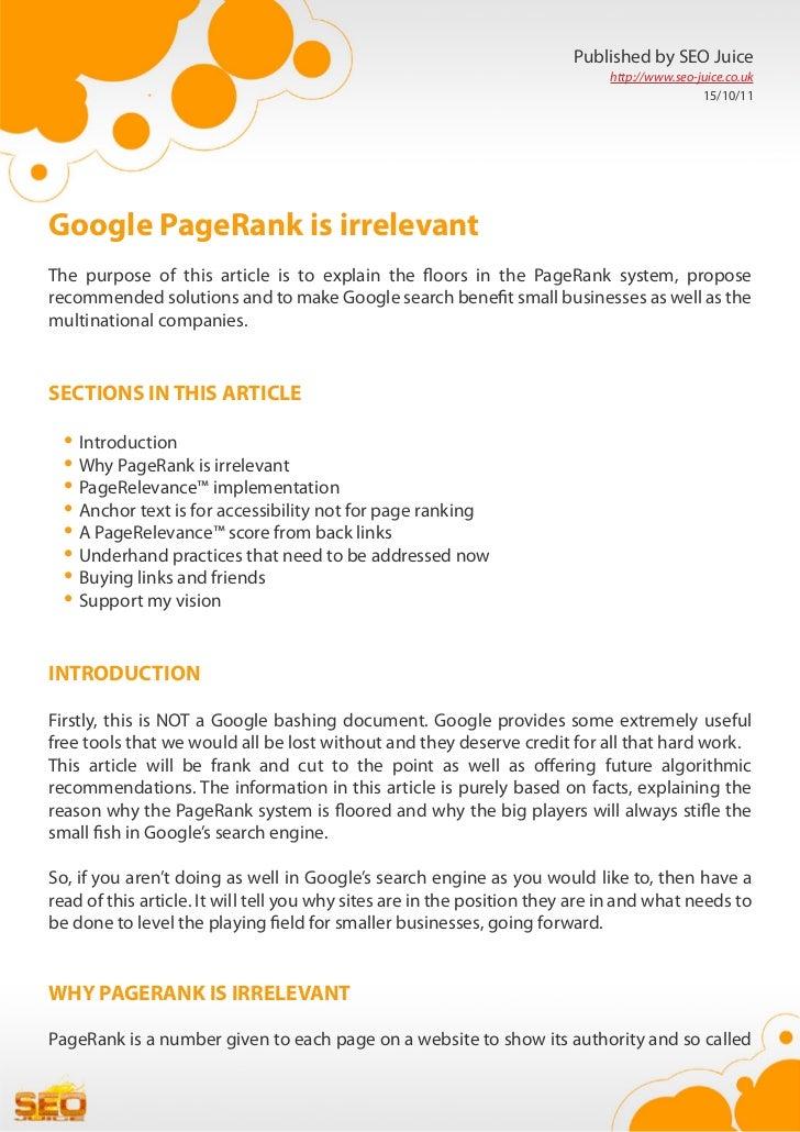 Google PageRank is irrelevant