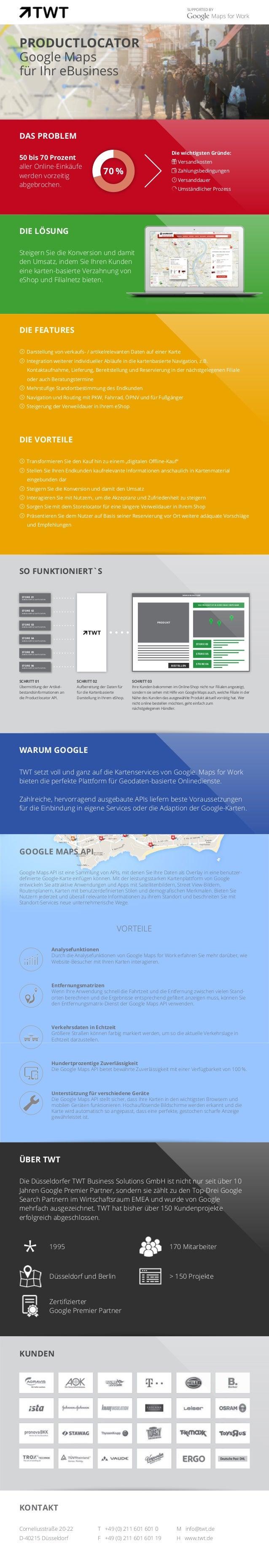 SUPPORTED BY Productlocator Google Maps für Ihr eBusiness DAS PROBLEM 50 bis 70 Prozent aller Online-Einkäufe werden vorze...