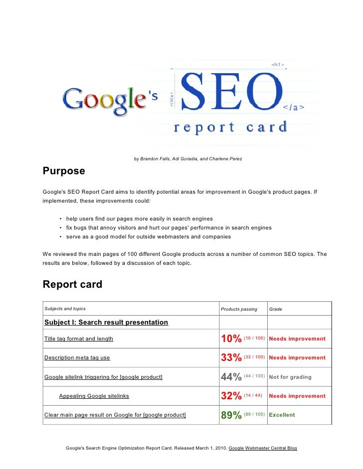 by Brandon Falls, Adi Goradia, and Charlene Perez  Purpose Google's SEO Report Card aims to identify potential areas for i...