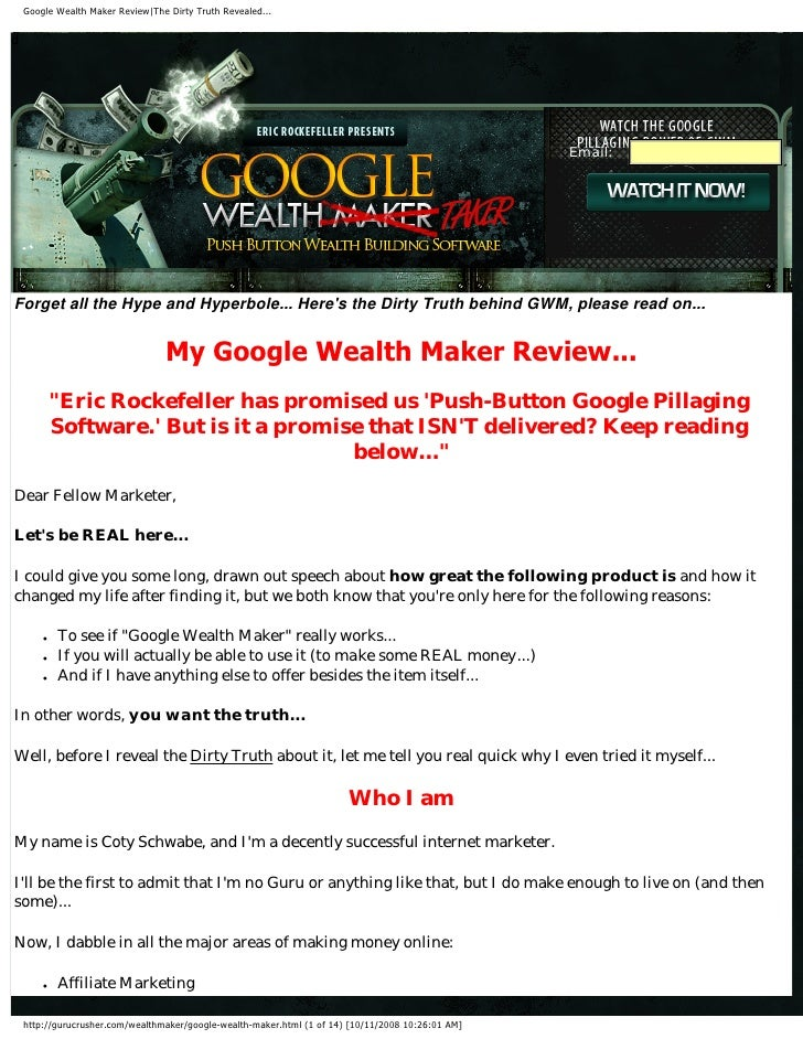 Google Wealth Maker Review|The Dirty Truth Revealed...   d                                                                ...