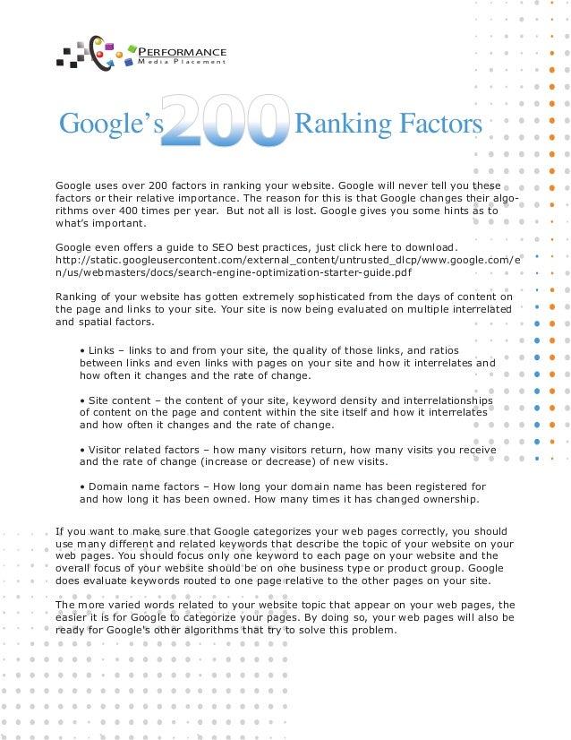 Google 200 Factors Page Rank 2014