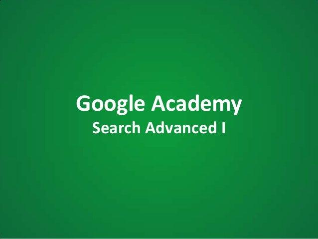 Google AcademySearch Advanced I