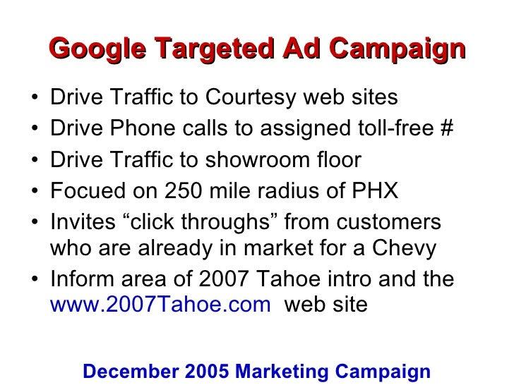 Google Targeted Ad Campaign <ul><li>Drive Traffic to Courtesy web sites </li></ul><ul><li>Drive Phone calls to assigned to...