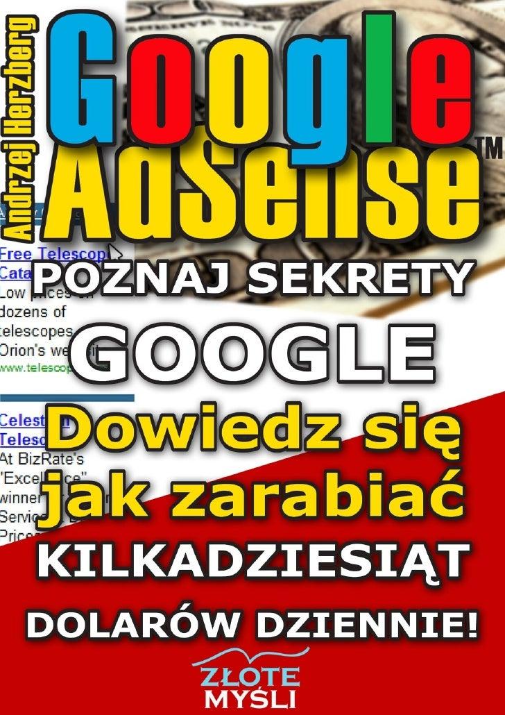 """Ten ebook zawiera darmowy fragment publikacji """"Google AdSense""""                                               Darmowa publi..."""
