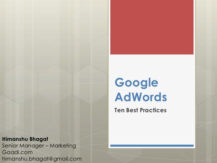 Google AdWords - 10 Best Practices