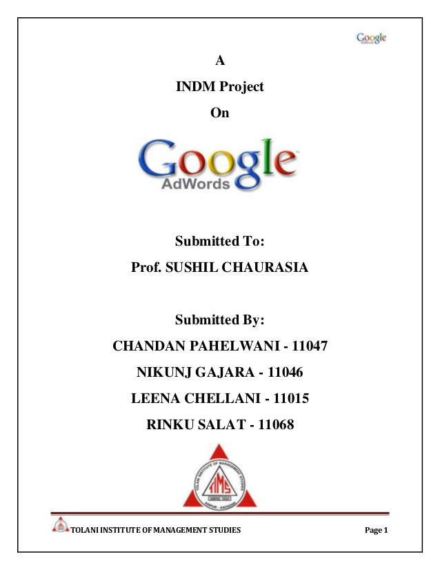 A                       INDM Project                               On                       Submitted To:             Prof...