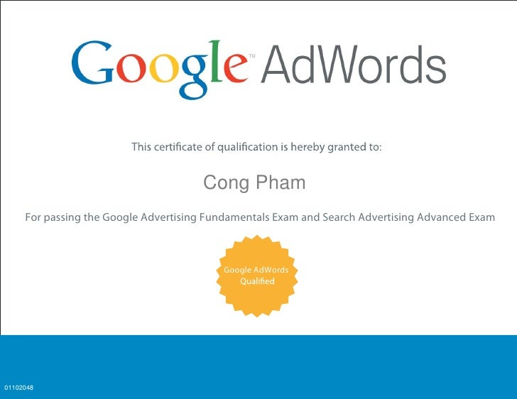 Analytics                                      Cong Pham     For passing the Google Advertising Fundamentals Exam and Sear...
