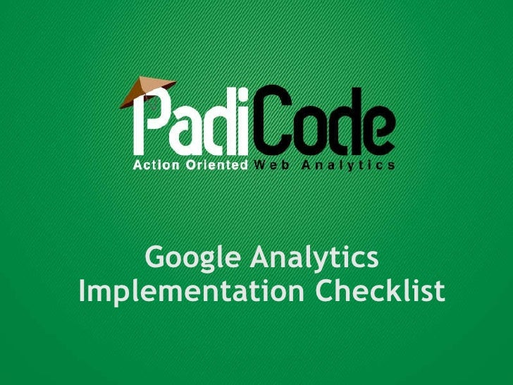 Google Analytics Implementation Checklist