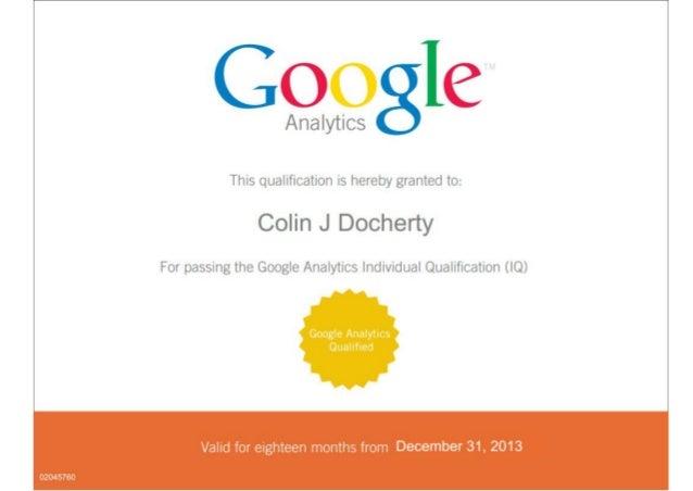 Colin Docherty Google Analytics IQ Pass Certificate (92%)