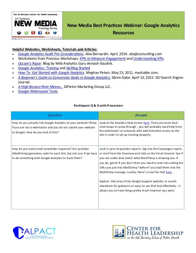Helpful Websites, Worksheets, Tutorials and Articles:  Google Analytics Audit Pre-Considerations. Alex Bernardin. April, ...