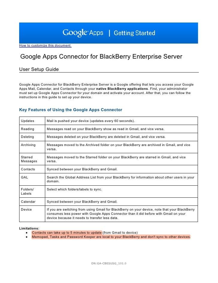Google Apps Connectorfor Black Berry Enterprise Server User Setup Guide