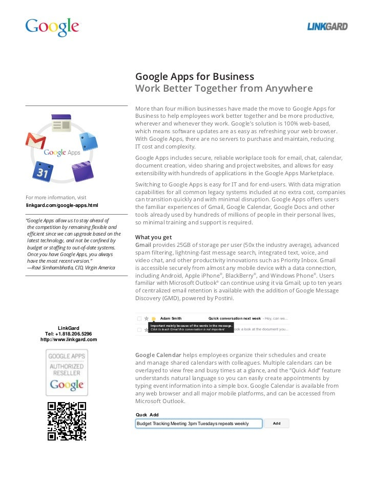 Google Apps for Business                                               Work Better Together from Anywhere                 ...