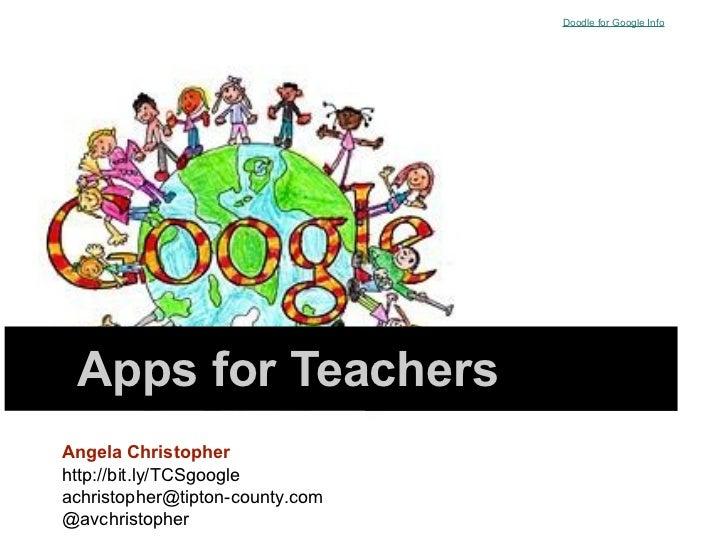 Doodle for Google Info Apps for TeachersAngela Christopherhttp://bit.ly/TCSgoogleachristopher@tipton-county.com@avchristop...