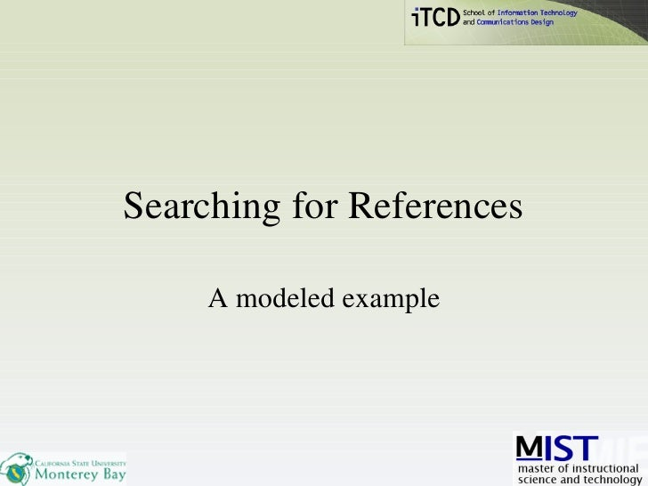 Searching for References A modeled example