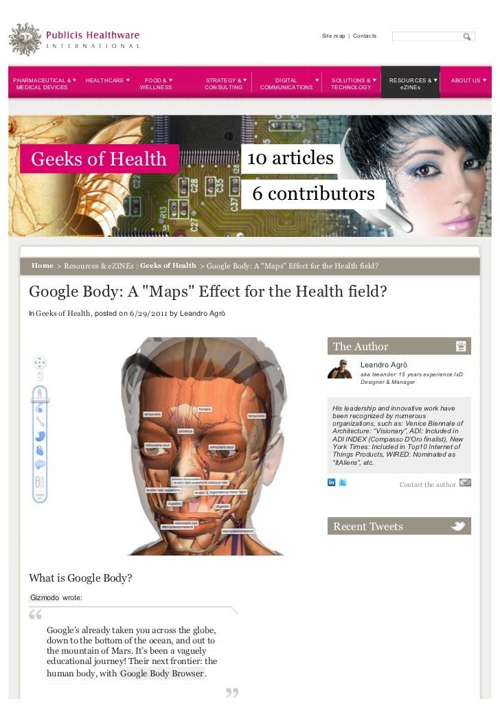 Google body a maps effect for the health field