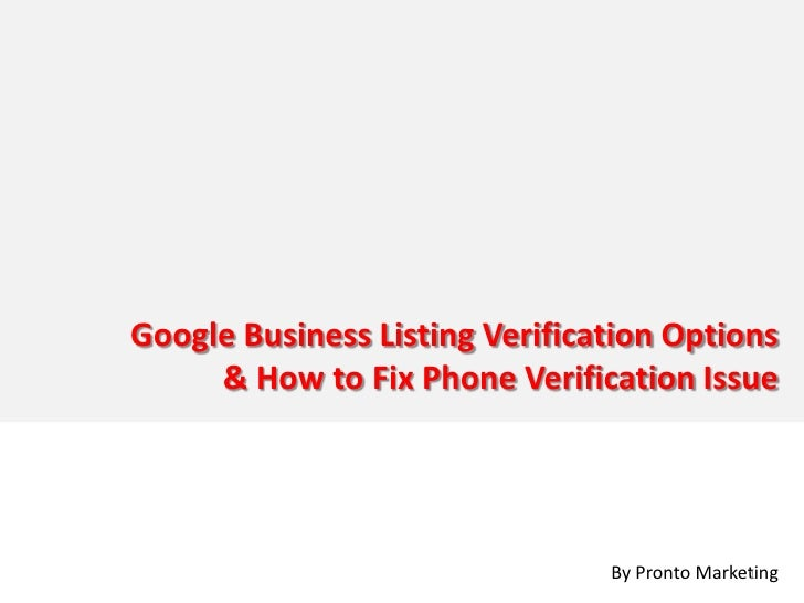 Google Business Listing Verification Options      & How to Fix Phone Verification Issue                                   ...