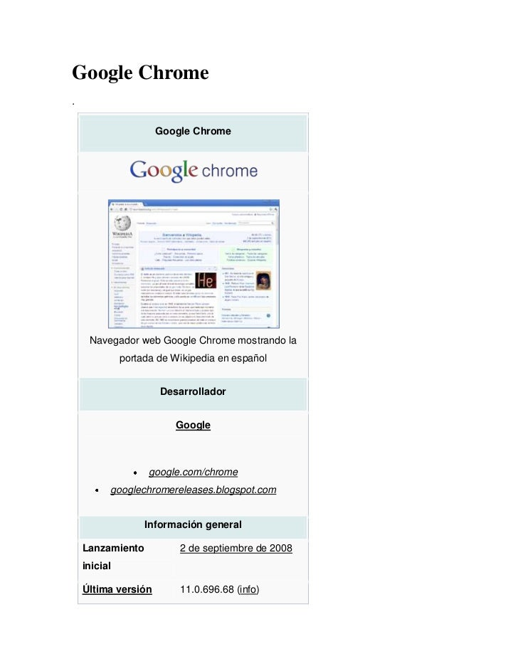 Google Chrome.                     Google Chrome     Navegador web Google Chrome mostrando la              portada de Wiki...