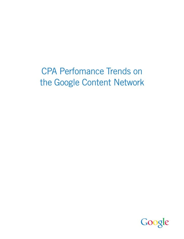 CPA Perfomance Trends on the Google Content Network