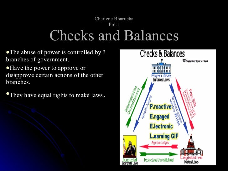 Charlene Bharucha Prd.1 Checks and Balances <ul><li>The abuse of power is controlled by 3 branches of government. </li></u...