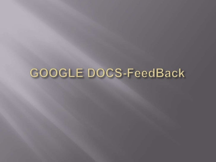 Formulare Feedback in Gdocs